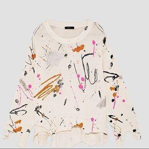 Zara splatter print sweater